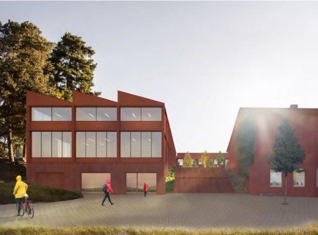 Skisse av det nye tilbygget på Nesoddtangen. Er det dette bygget Høyre vil kutte når de skal ha klasserom for elver i en flerbrukshall?