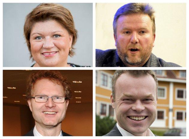 BANE: Mange vil satse på bane. Innsatsen må styrkes. Ordførerne Anita Ihle Steen og Espen G. Johnsen (ned t.h.) og stortingsrepresentantene Bengt Fasteraune (opp t.h.) og Tor-André Johnsen har en viktig jobb å gjøre.
