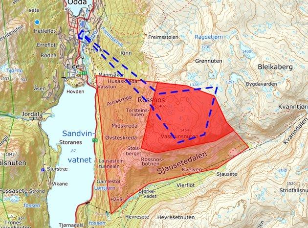 Blått: Reguleringsområde gondol. Svak rød: Beiteområde. Rød: Høgfjellsbeite.