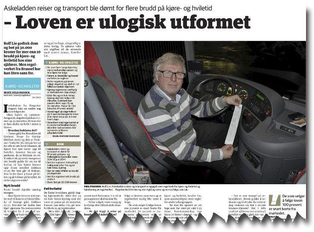 FAKSIMILE: Askeladden reiser og transport ble dømt for 18 brudd på kjøre- og hviletidsreglementet. Rolf Lie mener loven er ulogisk.
