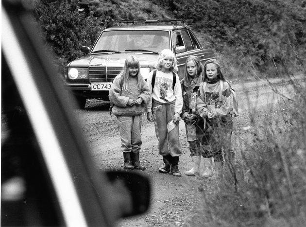 Dalselv skole. Skoleveien elevene fra Øverdal/Fagermo har, er direkte livsfarlig. Nå krever foreldrene fri skoleskyss og utbedringer av veien, ellers blir det skolestreik.