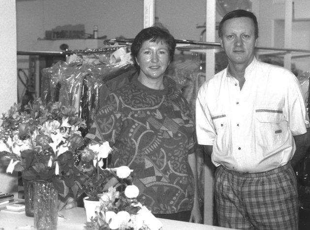 Moss Rensesenter, renseri i Prinsensgate i Moss sentrum. Marit og David, 1990.