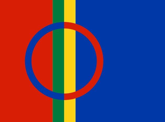 Samenes flagg, brukt av samene i både Norge, Sverige og Finland.