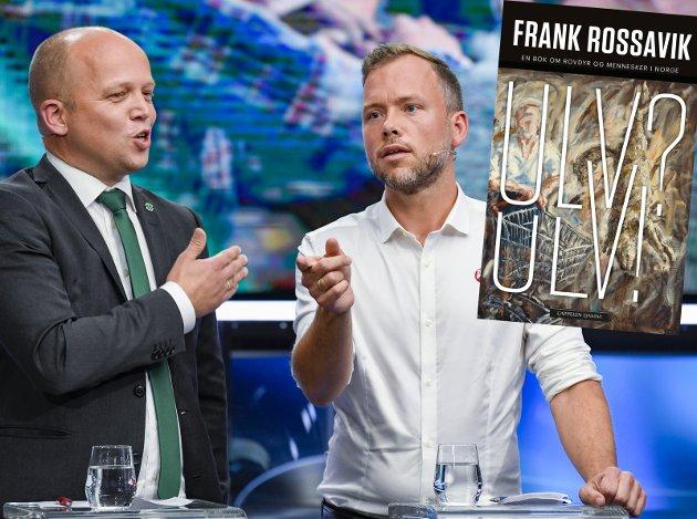 UENIGE: Trygve Slagsvold Vedum og Audun Lysbakken kan med fordel lese Frank Rossaviks «Ulv! Ulv!» for å få nyansene i ulvedebatten.Foto: Marit HommeDAL NTB/Bokomslag Cappelen DAMM