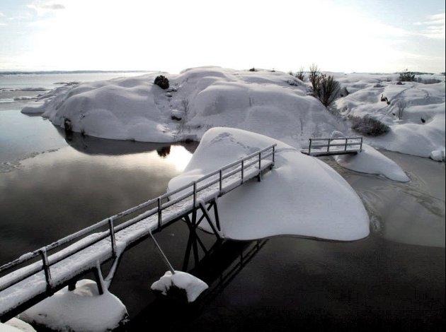 Snødekt Glufsa: Stedet forbindes med sol og sommer. Slik ser det ut vinterstid på stedet som har distriktets merkeligste navn ifølge Lars Ole Klavestads liste.