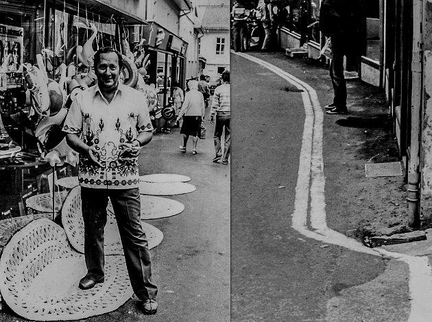 Når fortauene i byen forsvant, la Torleif Kilen som drev Chic Magasin ut matter som et eget fortau foran butikken sin.