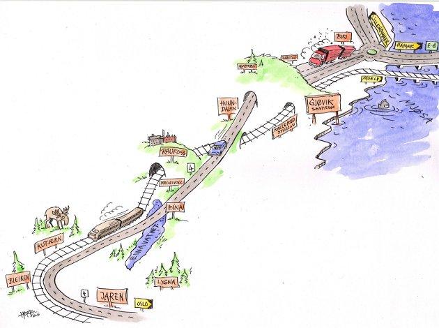 HELHETLIG: En helhetlig utbygging av riksvei 4 har høyeste veipolitiske prioritet i Gjøvikregionen. På kort sikt omfatter det blant annet ny firefelts vei på strekningen Raufoss-Gjøvik-Mjøsbrua, med tunnel under Gjøvik by.