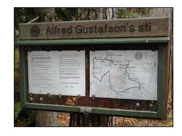 Informasjonstavle i Hebekkskogen som er forsvunnet