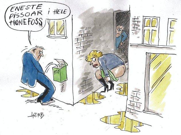 NÅR NØDEN ER STØRST: Byen trenger et offentlig toalett nå, mener redaktør Øyvind Lien. Tegning: Herb