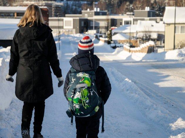 Nina Gabrielsen og sønnen Jesper Myrmel-Gabrielsen (7) mener skoleveien fra toppen av Vesternbakken til Benterud skole er både lang og farlig.