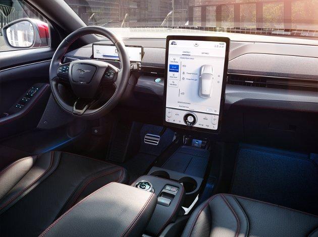 Interiøret i Ford Mustang Mach-E.