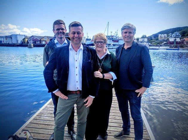 Venstres ledertrio har hatt møte med Venstres varaordfører i Rygge, Finn-Erik Blakstad. Fra venstre: Terje Breivik (nestleder), Finn-Erik Blakstad, Trine Skei Grande og Ola Elvestuen (nestleder).
