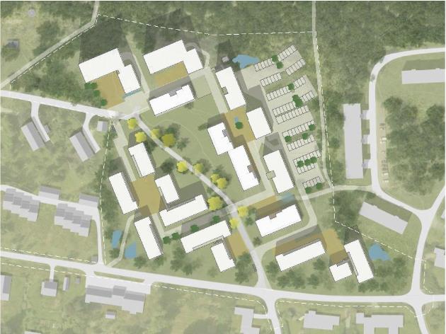 Slik mener SiÅs at en fult utbygd studentby i Skogveien kan se ut.