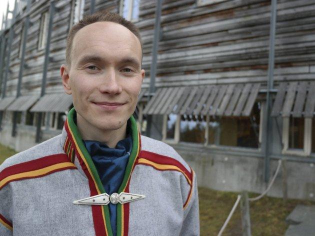 GRATULERER narvik: Leder for Norske Samers Riksforbund, Runar Myrnes Balto, gratulerer Narvik med samefolkets dag. foto: Privat