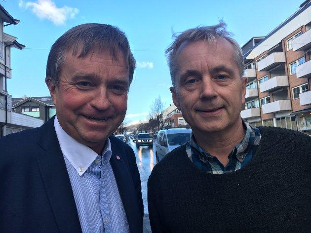LØFTE: Tore Hagebakken (t.v.) og Knut Storberget leder Ap i innlandsfylkene De lover en bedre framtid med Ap i regjering.