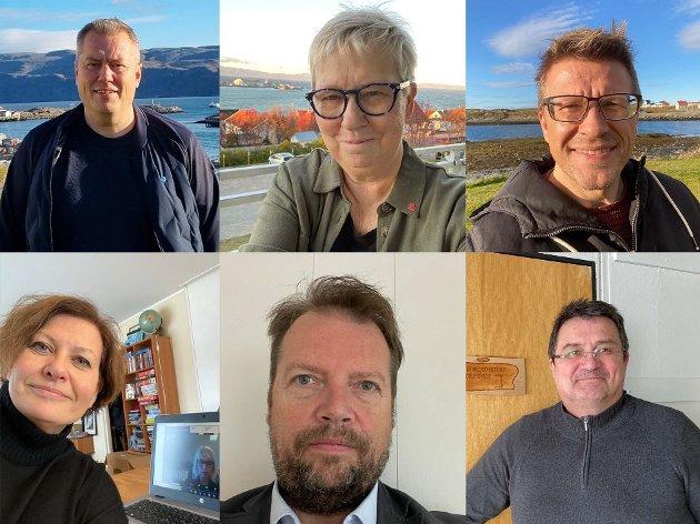 SAMMEN: Wenche Pedersen, ordfører Vadsø, Ronald Wærnes, ordfører Båtsfjord, Ørjan Jensen, ordfører Vardø, Knut Store, ordfører Nesseby, Rolf Laupstad, ordfører Berlevåg og Helga Pedersen, ordfører Tana vil ha med seg befolkningen.