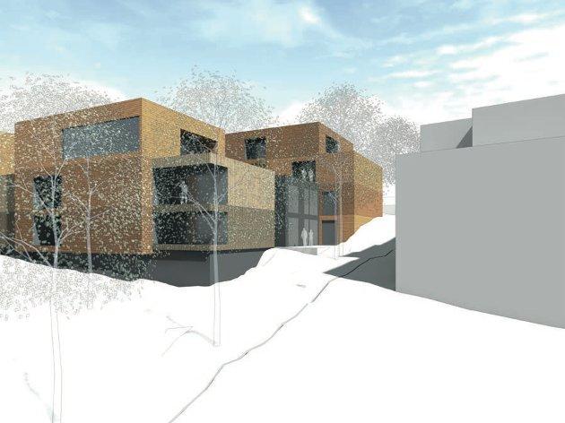 En to etasjers blokk ifølge planavdelingen i Sarpsborg kommune – Illustrasjon fra utbygger som vedlegg til planforslag for sluttbehandling i mai 2019.