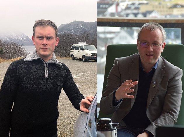 ØKONOMI: Stig Ove Ølmheim minnar ordførar i Sogndal, Arnstein Menes, om at kommunen framleis ikkje har revisorgodkjent årsrekneskap for 2020.