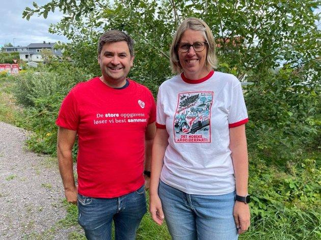 Pål Einar Røch Johansen og Iren Beisvåg. Leder og nestleder i Nittedal Arbeiderparti
