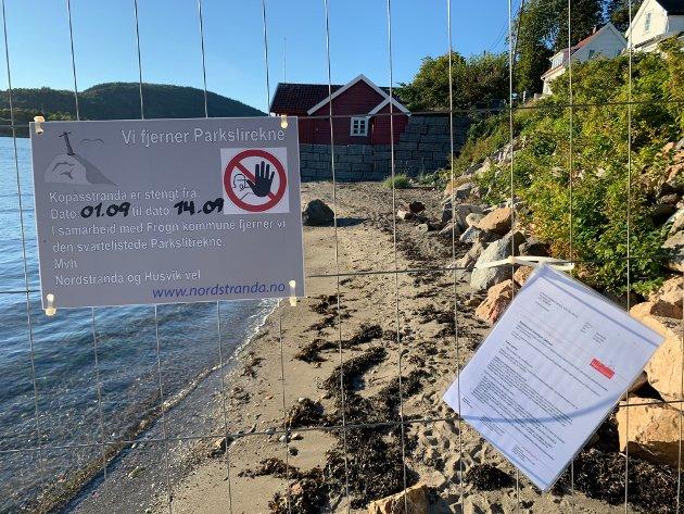 Kopåsstranda (nordre del av Nordstranda) er avsperret frem til 14. september.