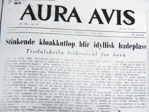 Bademuligheter før og nå: Bademuligheten utendørs på Sunndalsøra er et hett tema for tiden. Mitt bidrag er vel 50 år gammelt... (Foto. Egil Knarvik).