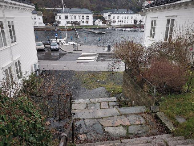 Ved foten av Risørs velkjente trappeløp, Danielsens trapper, ønsker Terje Larsen å plassere sin mobile isbar. Det mener Kirsten Hellerdal er en dårlig idé.