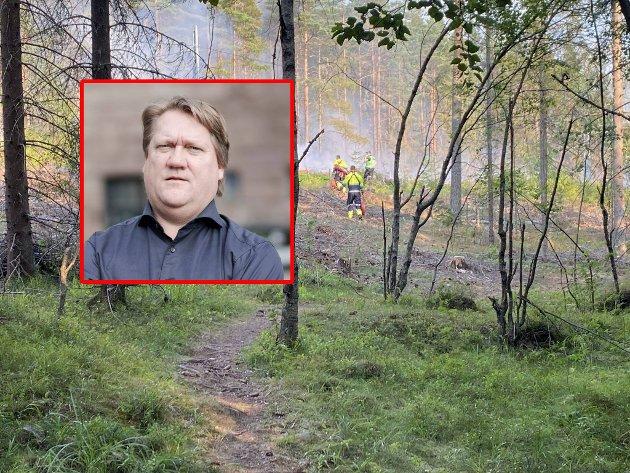 FNs klimarapport er skremmende lesning, mener  politisk redaktør Eirik Mosveen. For Oslo kan det bety flere skogbranner, slik som denne i Maridalen i juli.