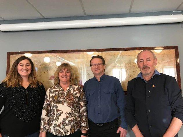 Senterpartiordførere i Salten (fv): Marlen Rendall Berg, Fauske. Monika Sande, Beiarn, Gisle Hansen, Sørfold og Rune Berg, Saltdal.