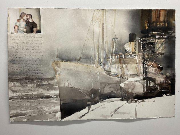 KYSSEN: Spegling, fiskebruk II»: Motivkretsen på denne utstillingen er fra Lofoten, et område Lars Lerin sier han aldri blir ferdig med.