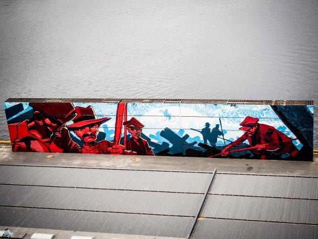 TØMMERFLØTERE: Kunsterne og Drammen Havn ønsket å illustrere byens tømmerfløte-historie.