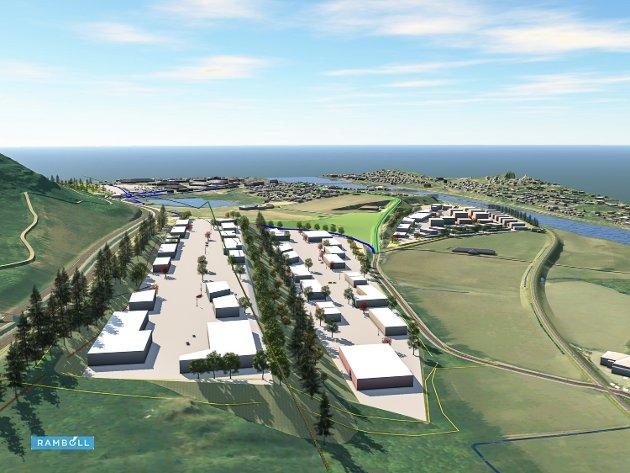 UTBYGGING: Næringsterrassen, planlagt i to terrasseplan.