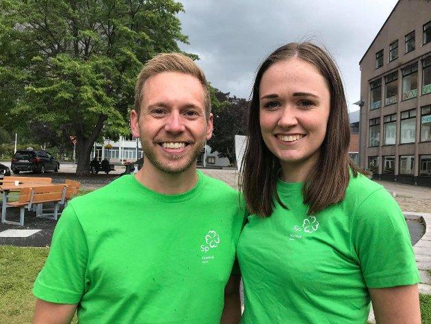 Hilde Horpen, 5. kandidat Vestland Senterparti og Alexander Fosse Andersen, 6. kandidat Vestland Senterparti.