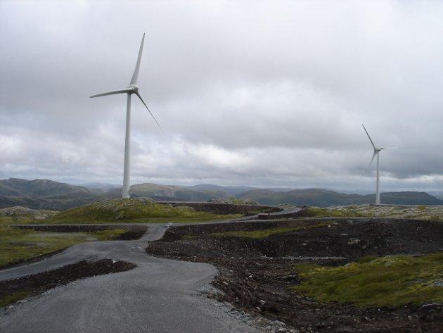VINDMØLLER: –At vindkrafta produserer mykje elektrisitet når det bles mykje, er like uinteressant som at noko er gratis når du ikkje treng det, skriv forfattarane. Bildet er frå Bessakerfjellet 2008