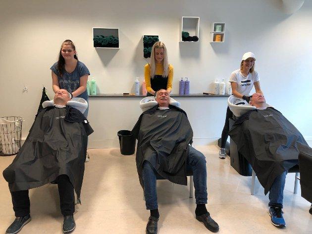Innvilget salongen: Selina Svensson, Nora Dalsbø og Veslemøy Norheim innvilget den nye frisørsalongen på Solhaugen.