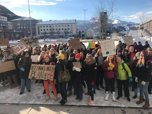 Noen av demonstrantene på fredag 15. mars