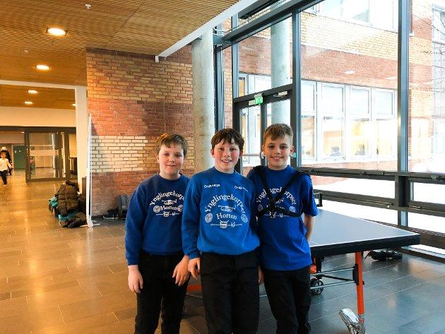 TRIVES: (f.v.) Benjamin, Martin og Eirik (10) har spilt i Granly skolekorps i to og tre år.