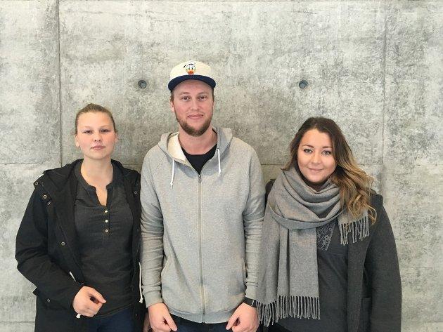 INNSATS: Studentene Sandra Andersen, Ulrikke Bjørndalen og Alexander Vik Oddane er opptatt av å forklare at barnehagelærere er nødvendige i en barnehage, og at de gjør alt annet enn å skravle og drikke kaffe.