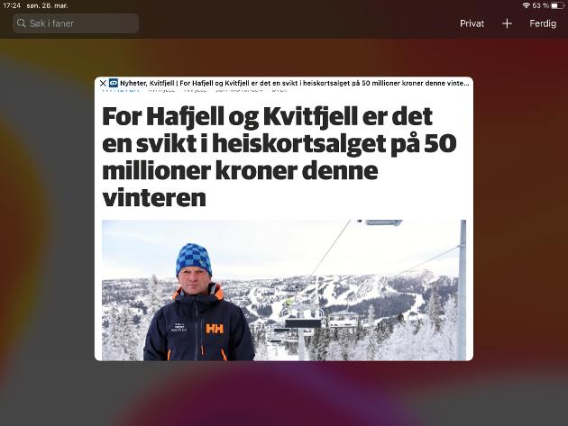 Oppslag om tapte heiskortinntekter i Hafjell