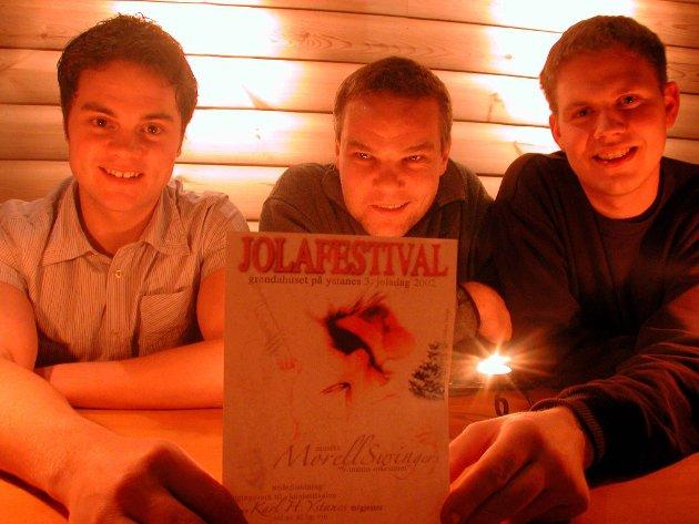 Jolafestival: Harald Opedal (no Alvavoll), Karl H. Ystanes og Fredrik Opedal Karrangerte festival i desember 2002.