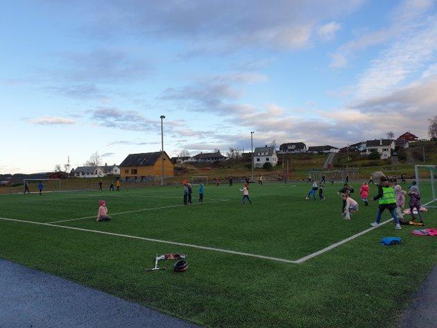 Frå kunstgrasbanen ved Uskedalen skule. (Foto: Privat).