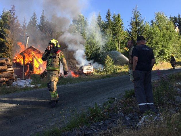 VOLDSOMME FLAMMER: Flisfyringsanlegg på Skollenborg i full fyr.