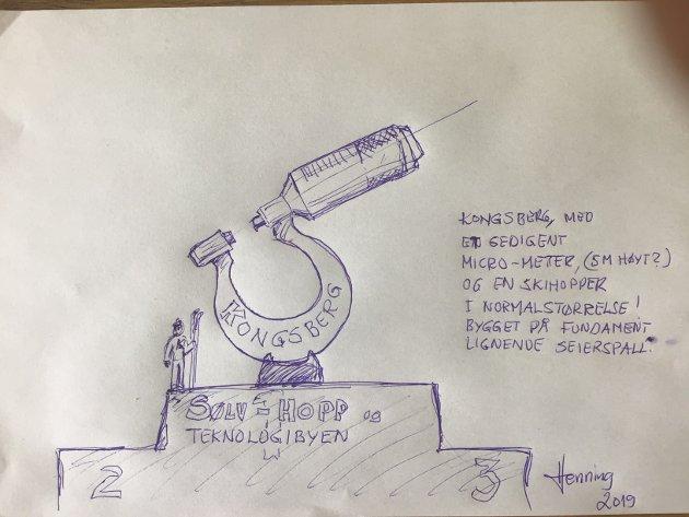 SKISSE: Fundament som en seierspall, et kjempesvært mikrometer og ved siden en skihopper i normalstørrelse, og kanskje en Bergmann som hugger i fjell?