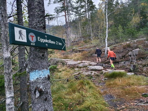 Starten: Fra ferristen i Eikseterveien starter klatringen opp mot Eggekollen.