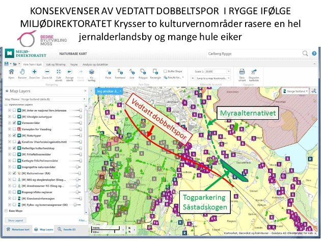 Illustrasjon fra miljøverndirektoratets naturbasekart påført jernbanealternativene .