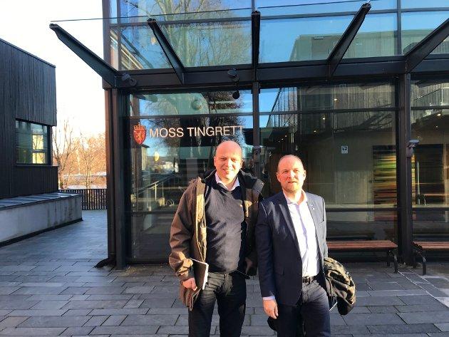 Sp-leder Trygve Slagsvold Vedum og Østfold-representant Ole André Myhrvold tar kampen for Moss tingrett.