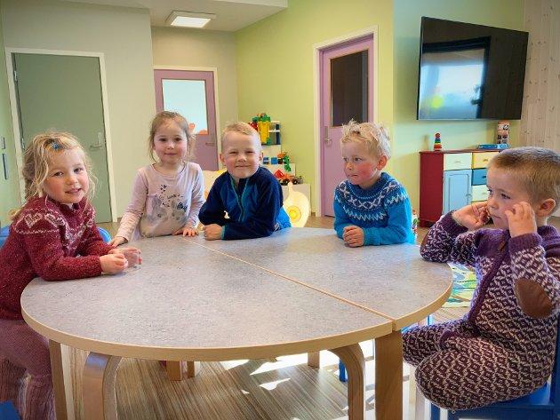 FØRSTE DAG I NY-BARNEHAGEN: Åsa Wahl Kirkeby-Garstad (5), Urte Navickaite (snart 6), Elvin Mollan (6), Iver Valø Nygaard (4) og Elias Mateo Ulsund Stiksrud (4) startet mandag barnehageuken i ny barnehage. Denne gjengen fra «Typpertuvo»-avdelingen er skjønt enige om at alt er bedre her.