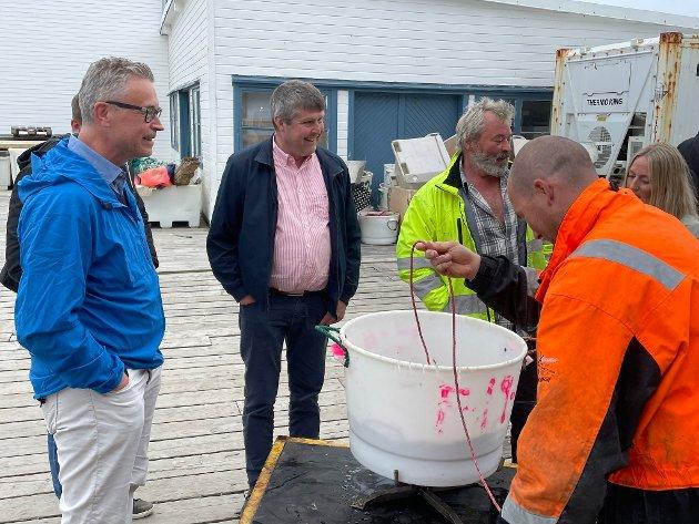 Fiskeri- og sjømatminister Odd Emil Ingebrigtsen møter fiskere i Vardø 9. juli i år.