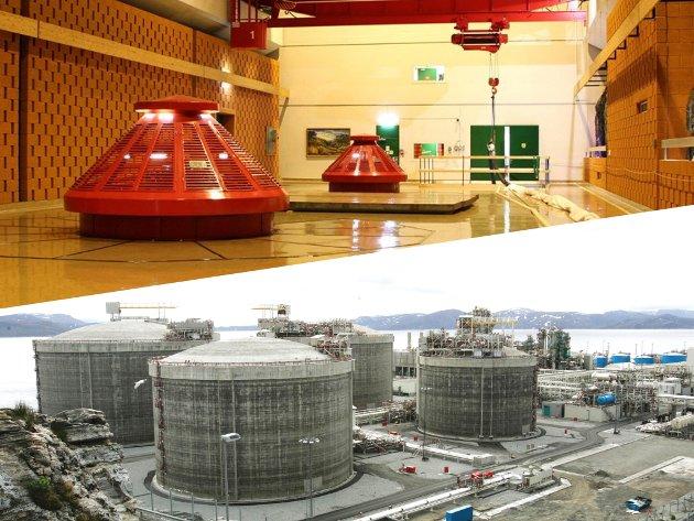 Nord-Norge har et overskudd av vannkraft – og så har vi naturgassen i Barentshavet. Det er en fullstendig misforståelse og en panikkreaksjon å tro at offshore-alderen kan avsluttes. Tvert imot – verdenssamfunnet trenger hver eneste kubikkmeter med gass vi kan produsere, skriver Einar Sørensen. Bildene er fra Alta kraftverk og Equinors gassanlegg på Melkøya ved Hammerfest.