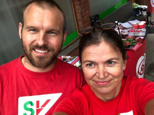 Ivar Melby og Hanne Eldby, her fra valgkamp på Bogerud senter 2019.
