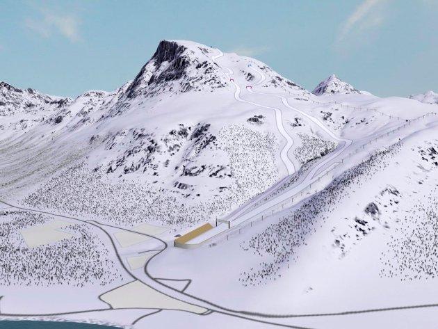 Tromsø 2018 - presentasjon av arenaer Hentet fra Tromsøs OL-søknad  Blåtind anlegg for utfor, super-G og alpin kombinasjon